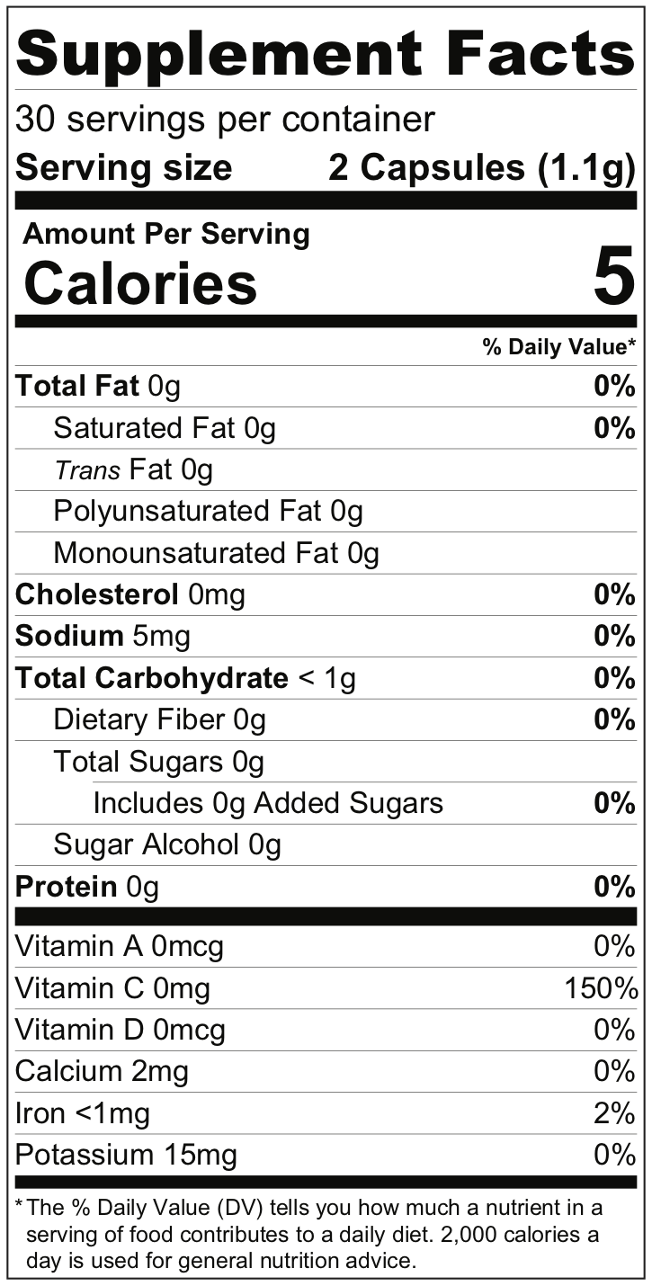 Cardio Nutrition Label